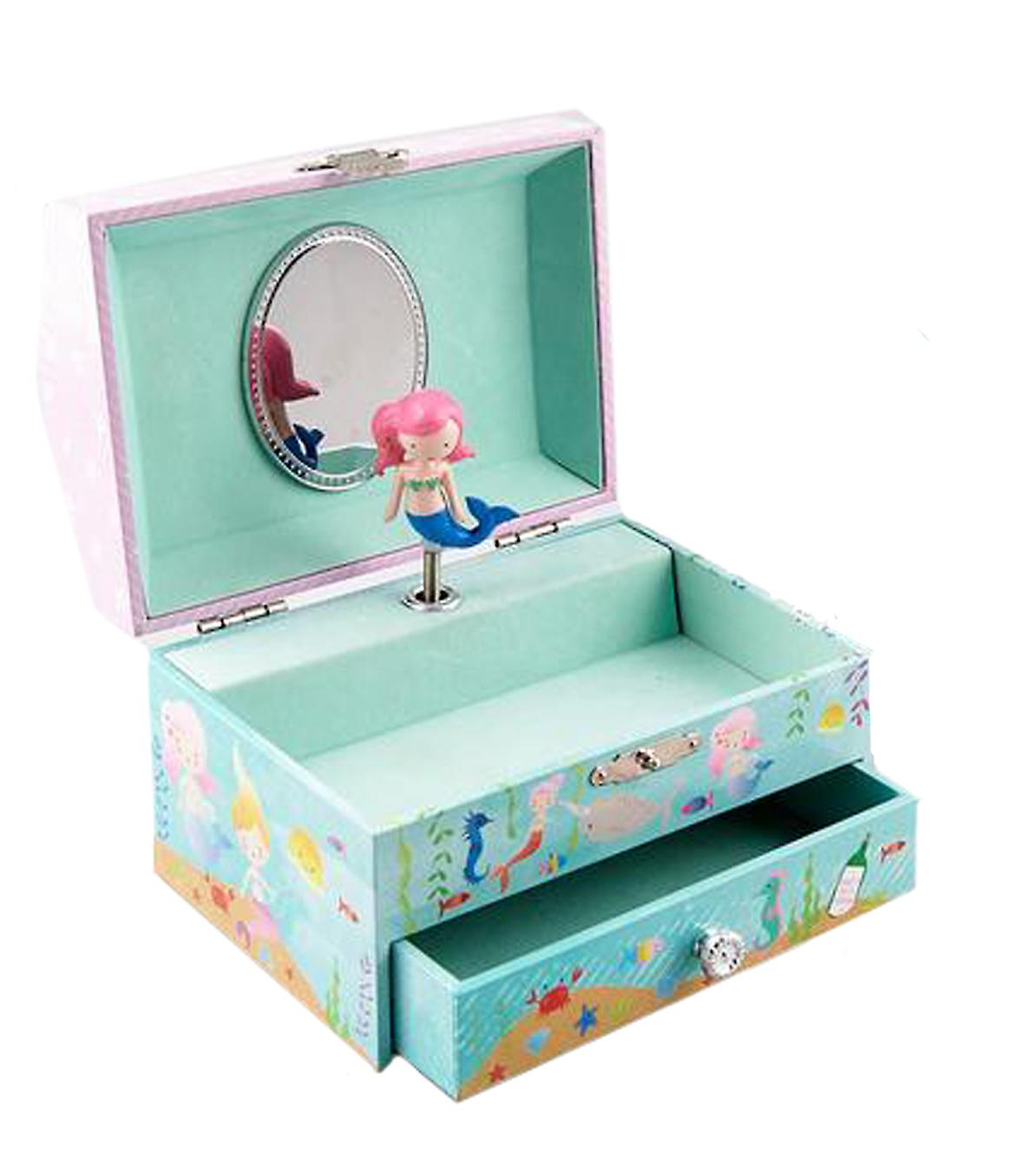 Girls mermaid themed jewellery box and silver dolphin necklace set