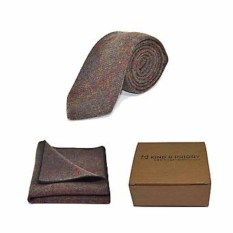 Heritage Check Earth Brown Tie & Pocket Square Set - Tweed, Plaid Country Look | Boxed