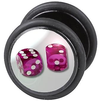 Cheater falso orelha Plug, brinco, joias de corpo, Dices rosa