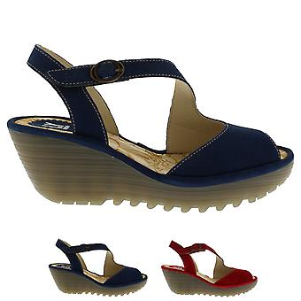 Womens Fly London Yamp Summer Peep Toe Cut Out Wedge Heel Buckle Sandals