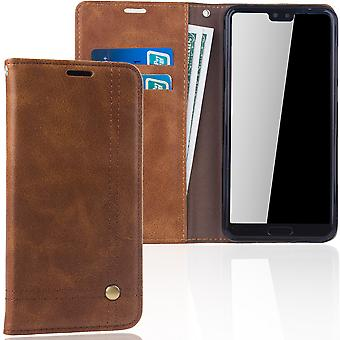 Cell phone cover case voor Huawei P20 per cover Wallet case Brown