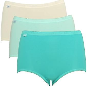 Sloggi Women Basic 3 Pack Maxi Brief, Turquoise/Cream, Size 18