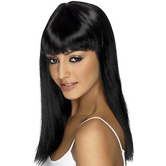 Long Black Straight Wig, Glamourama Wig, Fancy Dress Accessory