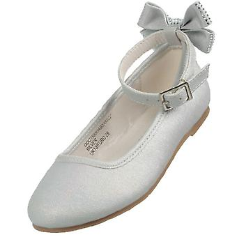 Girls pale silver bridesmaid ballerina shoes