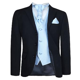 Boys New 5 Pc Black & Blue Wedding Cravat Suit