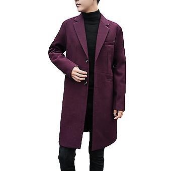 Cloudstyle Men's Overcoat Mid Long Slim Fit Solid Outwear