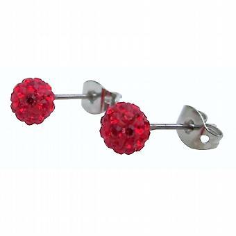 Women Earrings Red Pave Ball Stud Earrings