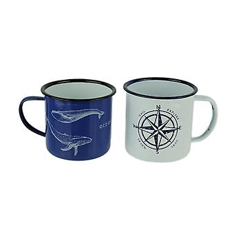 Blue and White Enamelware Nautical Whale and Compass Rose Mugs Set of 2