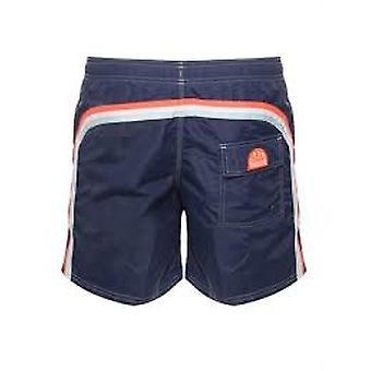 Sundek-M505 Long Length Swim Shorts With Rainbow Logo