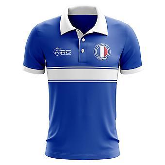 Frankreich-Konzept-Streifen-Polo-Shirt (blau)
