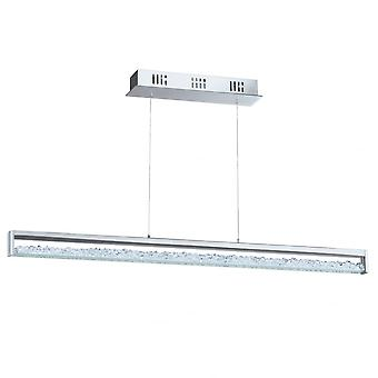 Eglo Cardito 1 LED Bar Pendant In Chrome With Clear Glass Crystal Design