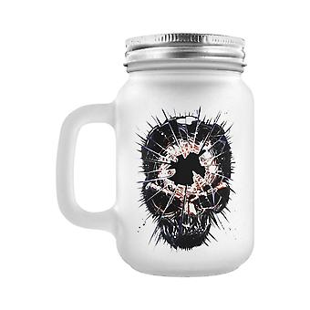 Grindstore Shattered Skull Frosted Glass Mason Jar