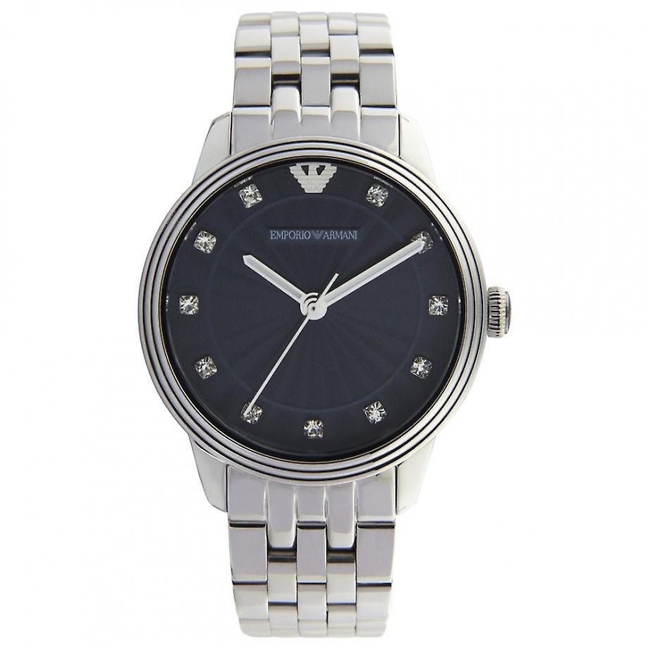 Emporio Armani Ar1653 Ladies Stone Set Blue Dial Bracelet Watch