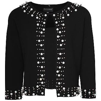 Frank Lyman Knit Cardigan With Pearls And Studs