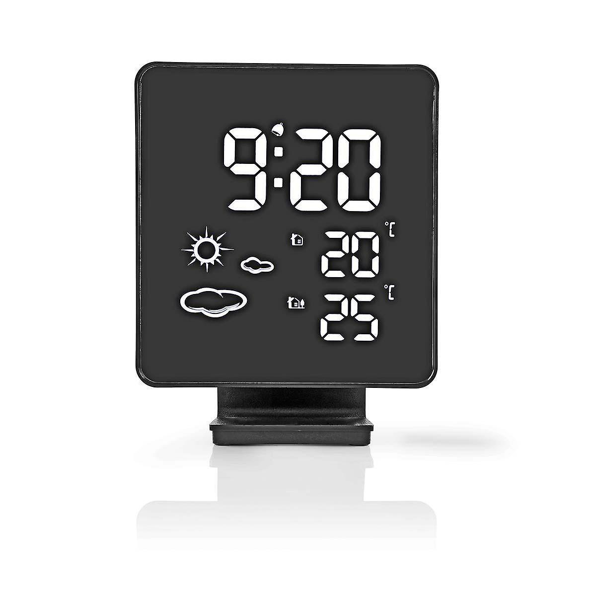 Nedis Weather Station   Wireless Sensor   Alarm Clock   Weather forecast WEST403BK