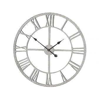 Libra Furniture Mirrored Skeleton Wall Clock With Studded Grey Iron Frame