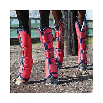 Weatherbeeta Wide Tab Long Horse Travel Boots - Red/navy