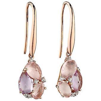 Elementen Gold de France en Quartz cluster oorbellen-roze/Rose goud