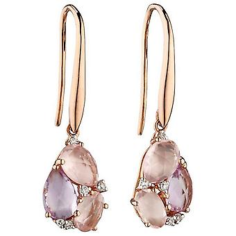 Elements Gold De France and Quartz Cluster Earrings - Pink/Rose Gold