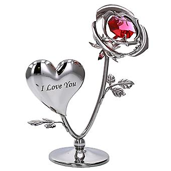 Crystocraft Chrome Plated Rose & Heart Ornament (I LOVE YOU)