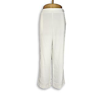 Bob Mackie Women's Petite Pants LP Straight Leg Woven White A344975
