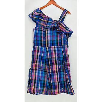 Isaac Mizrahi Live! One-Shoulder Madras Plaid Dress Blue A306835