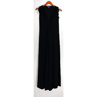 Nancy O'Dell Dress Knotted Front V-Neck Sleeveless Maxi Black A425802