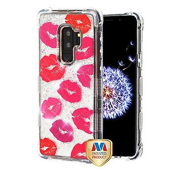 MYBAT Blissful Kisses/Silver TUFF Quicksand Glitter Lite Hybrid Protector Cover pour Galaxy S9 Plus