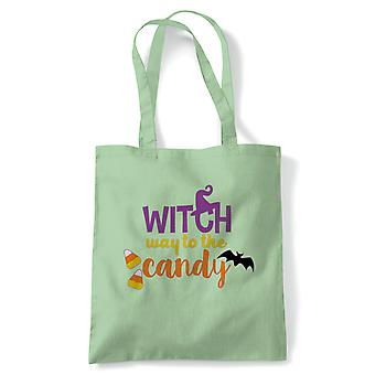 Witch Way To The Candy Tote | Halloween Fancy Dress Costume Trick Or Treat | Reusable Shopping Cotton Canvas Long Handled Natural Shopper Eco-Friendly Fashion