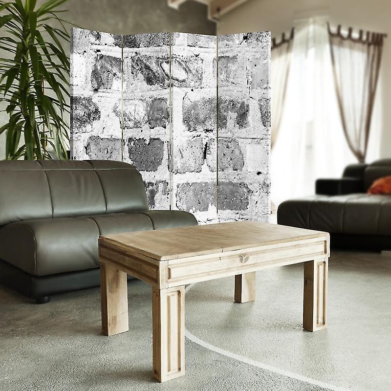 Diviseur de chambre, 4 panneaux, double-sided, Rotatable 360, toile, mur de brique