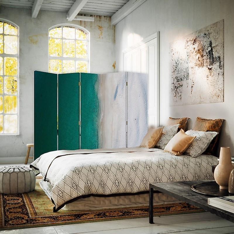 Diviseur de chambre, 5 panneaux, double-sided, Rotatable 360, toile, turquoise de mer