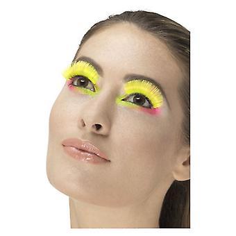 80 s partis cils, jaune néon, contient colle déguisements accessoires