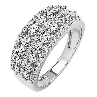 Dazzlingrock Collection 1.15 Carat (ctw) 14K Round Diamond Ladies Anniversary Wedding Band Ring, White Gold