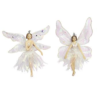 Gisela Graham Resin White Fairy Hanging Bauble Décoration