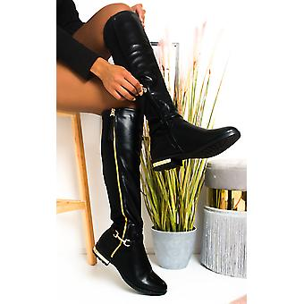IKRUSH Womens Linsey Faux Leather Knee High Buckle Boots