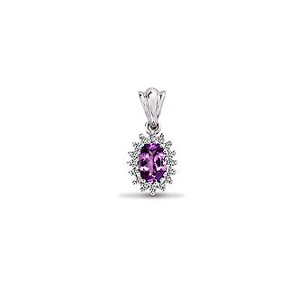 Jewelco London 9ct White Gold Cluster Set H I2 0.12ct Diamond and Oval Purple 0.44ct Amethyst Royal Cluster Pendant