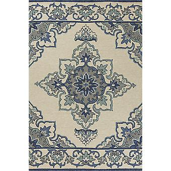 2' x 3' UV-treated Polypropylene Ivory/Blue Area Rug
