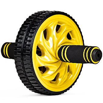 Ab Wheel - Dual Wheel Roller w Non-Slip Grip, Ylw
