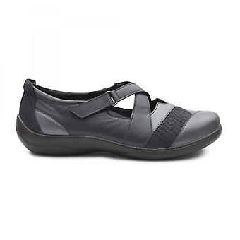Padders Basset Ladies Leather Extra Wide (2e/3e) Shoes Navy