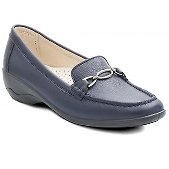 Padders Ellen Ladies Leather Extra Wide (2e) Moccasin Loafers Navy