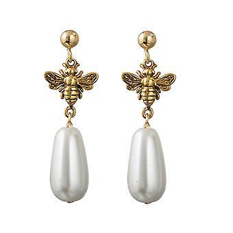 GEMSHINE stud örhängen BIENE med pärldroppar i 925 silver, guldpläterad eller ros