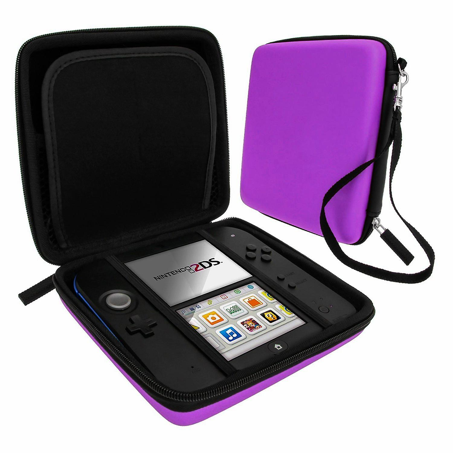 Zedlabz hard protective eva travel carry case for nintendo 2ds with built in game storage - purple