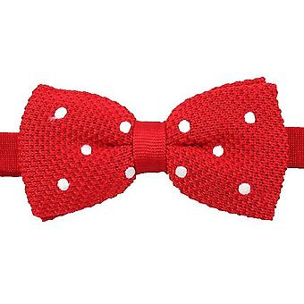 David Van Hagen Polka Dot Knitted Polyester Bow Tie - Navy/White
