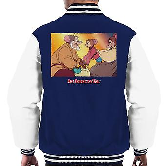 An American Tail Papa And Fievel Embrace Men's Varsity Jacket