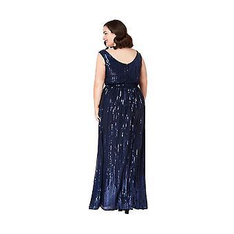 Goddiva Plus Size String Sequin Chiffon Dress