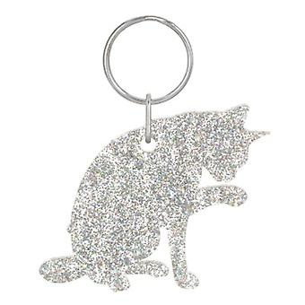 Holographic Silver Abyssinian Cat Style 7 Glitter Acrylic Keyring
