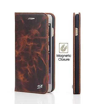 For iPhone SE(2020), 8 & 7  Wallet Case,Fierre Shann Protective Genuine Cow Leather Cover