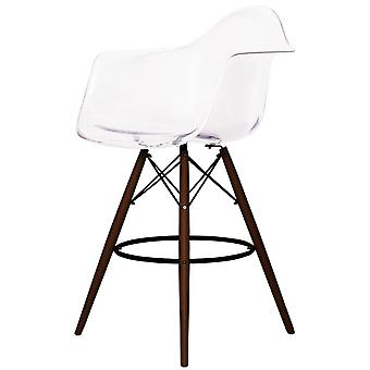 Charles Eames Style Clear Plastic Bar Stool With Arms - Walnut Legs
