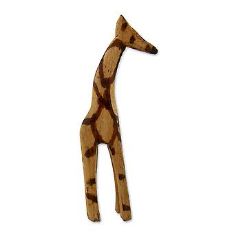 Hand Carved Large Wooden Giraffe Sculpture - 7 cm