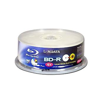 Ridata Recordable Write Once Bluray Bdr4X 25Gb druckbare Tube 25Pcs
